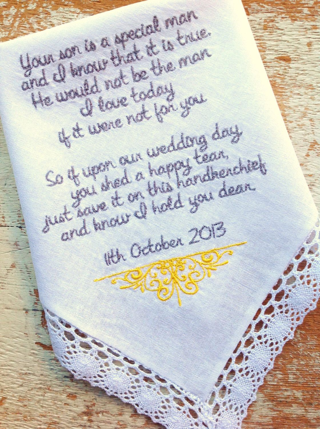 Embroidered Wedding Handkerchief Monogrammed custom mother in law personalized MIL embroidery