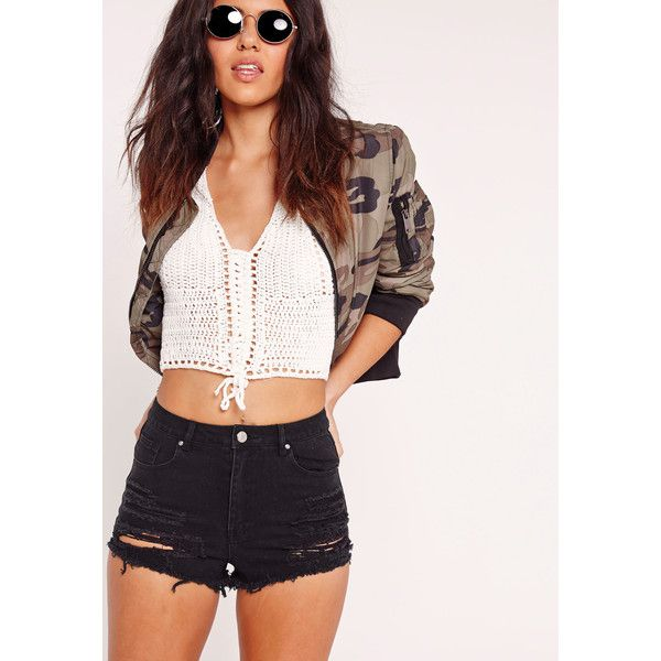 7d2ecf3e88 Missguided Tall Festival High Waist Ripped Denim Shorts ($43) ❤ liked on  Polyvore featuring shorts, black, highwaist shorts, short shorts, high rise  shorts ...