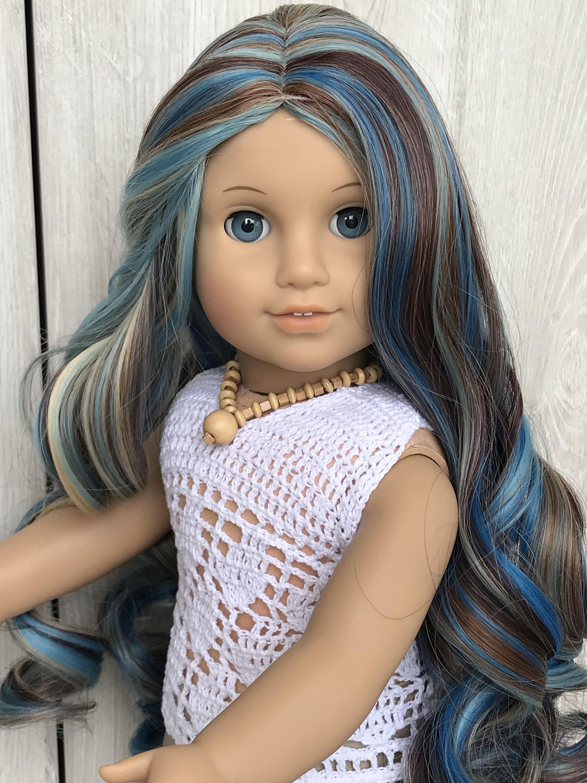 Custom american gir doll wig fits blue highlight most 11