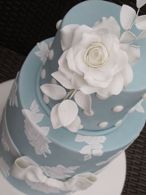 Frenchie planet cake couture cakes and cake close up of pale blue with white flower by baking addict via flickr mightylinksfo Image collections
