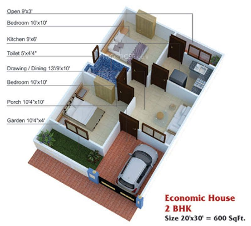 600 sq ft house plans 2 bedroom apartment plans for Double bedroom independent house plans