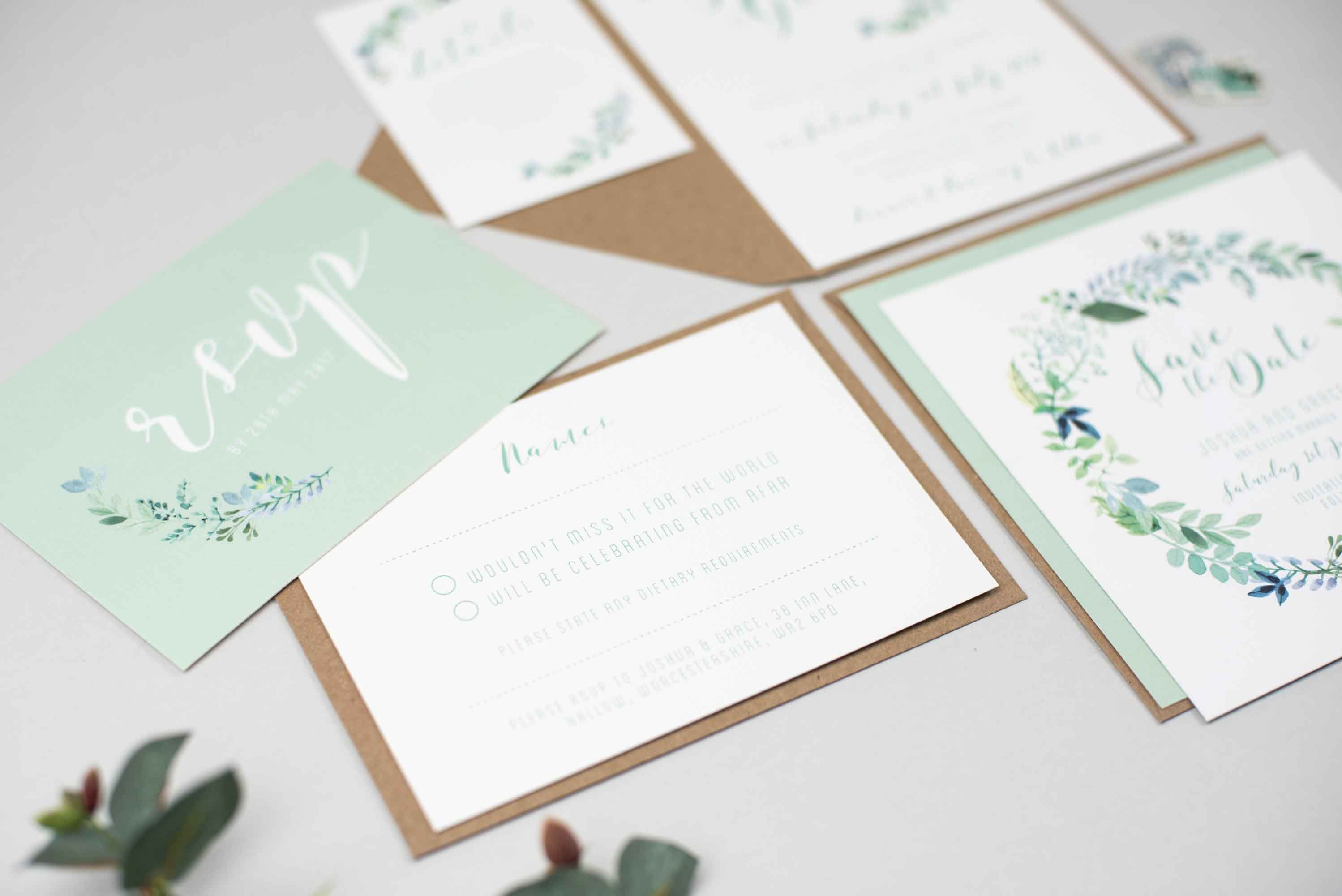 Botanical Wedding Invitation Suite | Floral Wedding Invite | Green ...