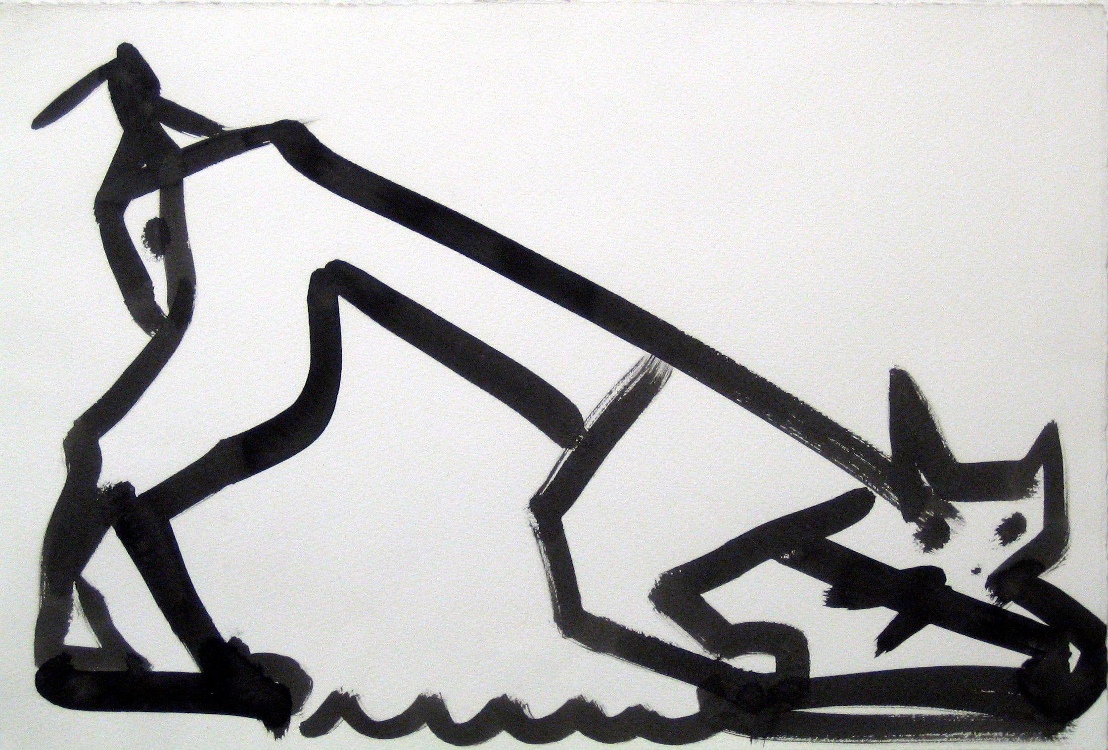 Katt, tusch, 50x70cm