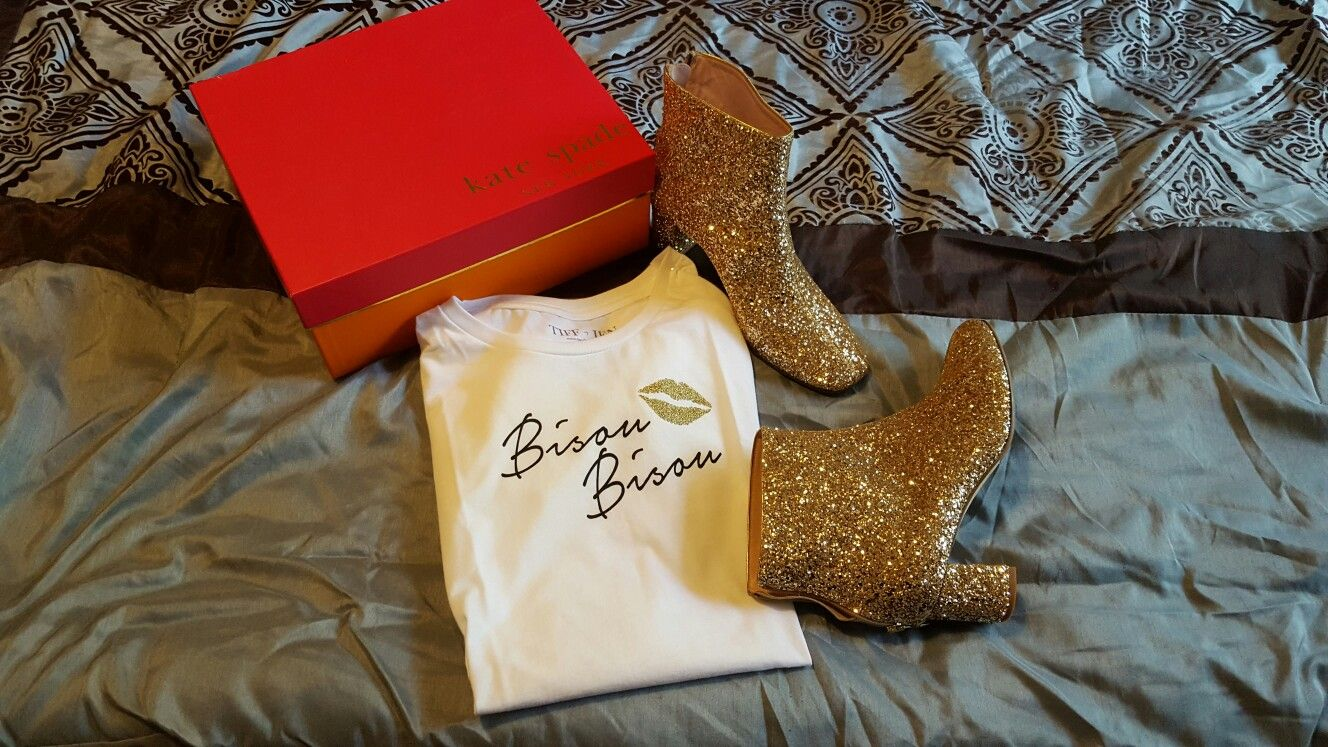 Kate Spade glitter booties, will wear forever...