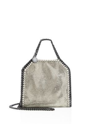 44c6cf11690 STELLA MCCARTNEY Falabella Tiny Baby Bella Shimmer Faux-Suede Tote ...