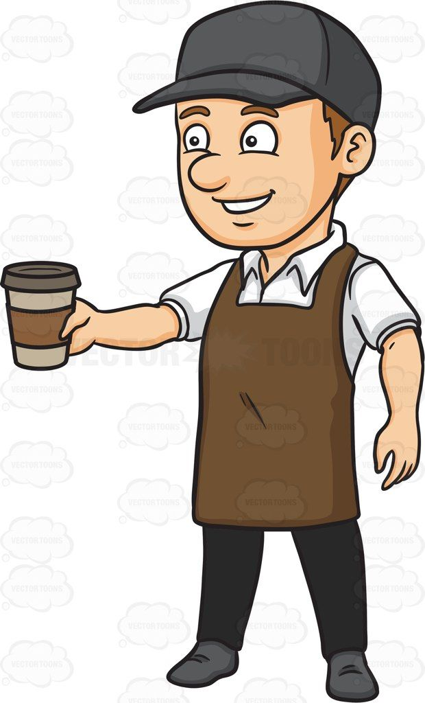 A Male Barista Serving Hot Coffee To Go Cartoon Clipart Vector Vectortoons Stockimage Stockart Art