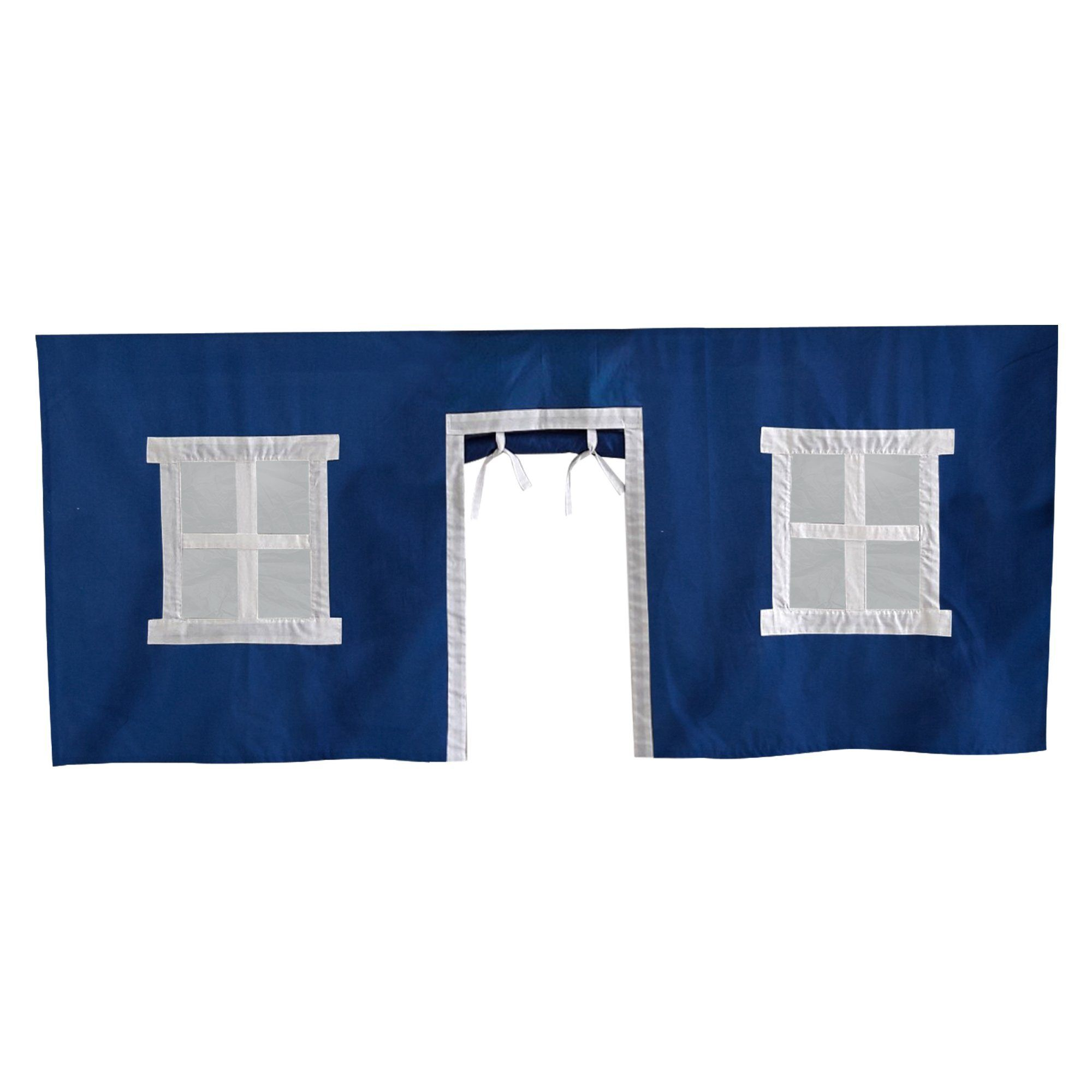 Cotton Underbed Curtain with Square Windows - Blue + White