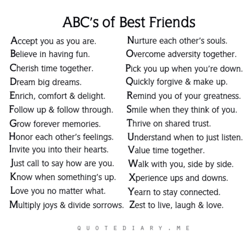 ABC's Of Best Friends I Absolutely LOVE This It's SO True To A Classy Katherine Philips Romantic Quotes