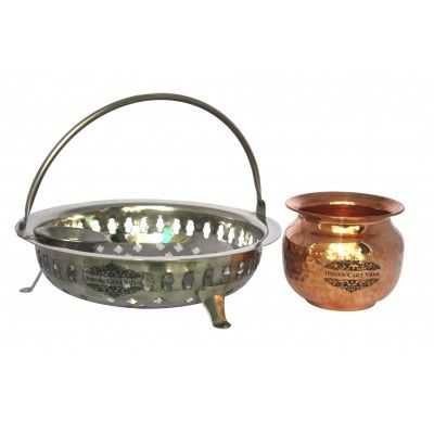 IndianCartVilla Stainless Steel Pooja Basket and Pure Copper