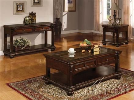 Anondale Cherry Wood 3pc Coffee End Table Set Cherry Wood