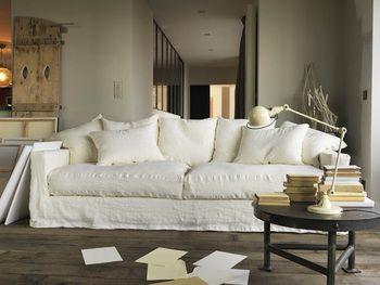 Canape En Lin Froisse Male Canapes Blancs Canape Home Spirit Canape Moelleux