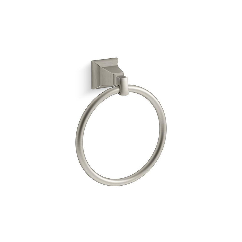 Kohler Kallan Towel Ring In Vibrant Brushed Nickel K R22083 Bn With Images Towel Rings