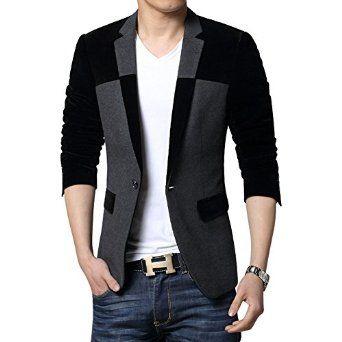 Benibos Mens Casual 1 Button Blazer Slim Fit Sport Coat Jacket