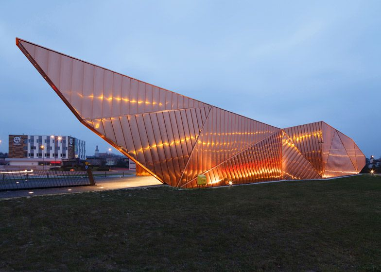 Modern Architecture Museum copper panels clad the facade of poland's museum of fire | poland