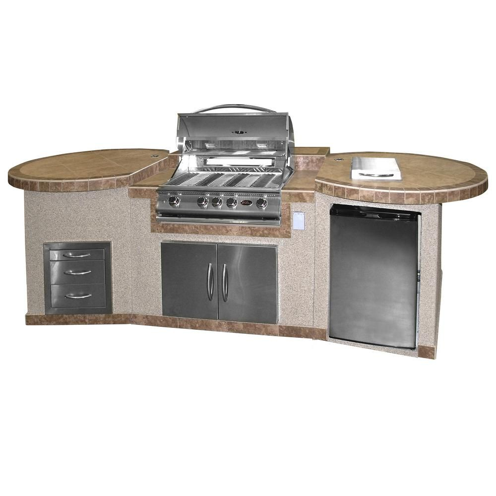 Cal Flame 3 Piece Bbq Island With 32 In Bbq Grill E3022 The Home Depot Outdoor Kitchen Island Bbq Island Modular Outdoor Kitchens