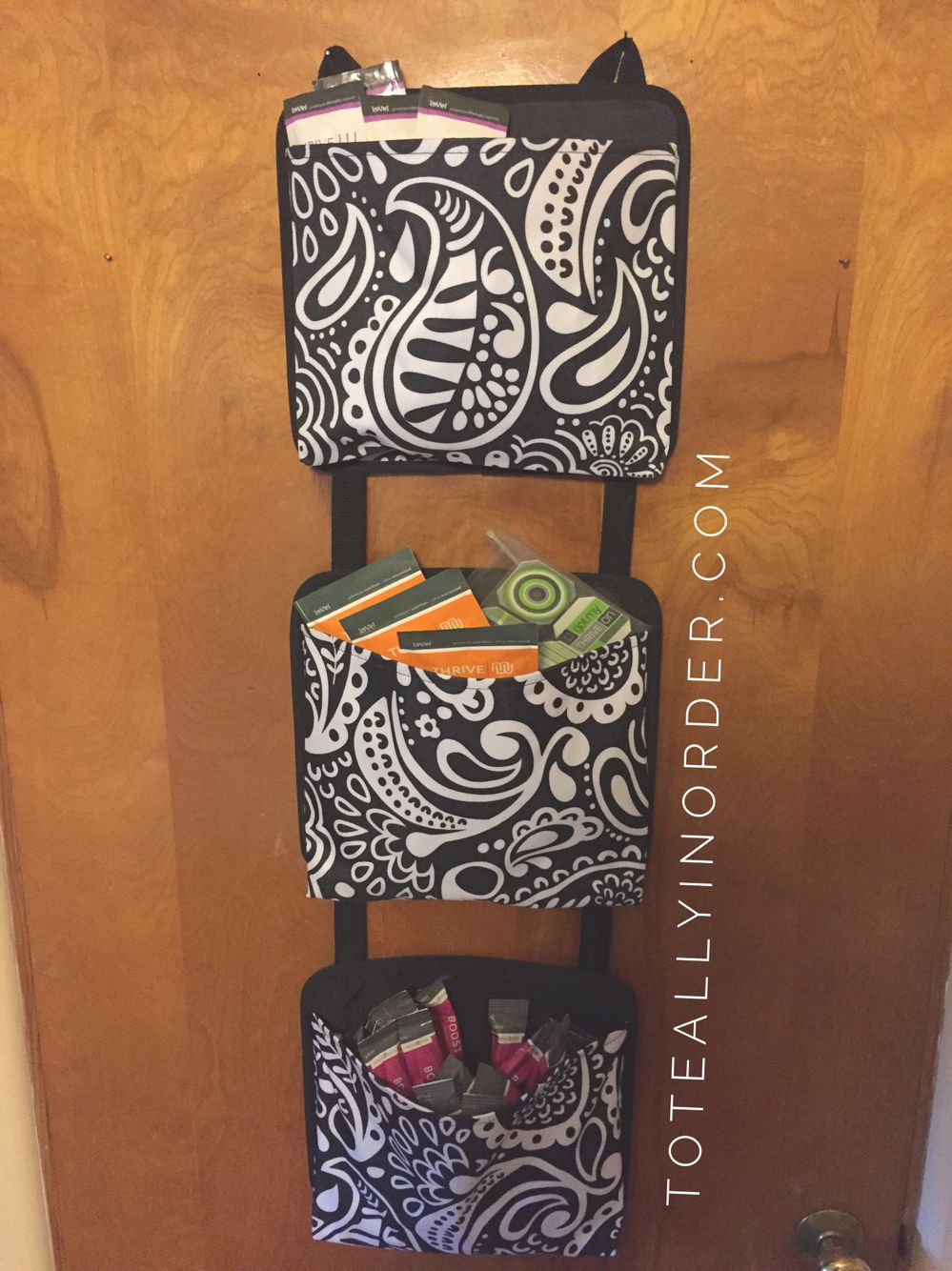 My thrive by level stays neatly hanging on my office door using