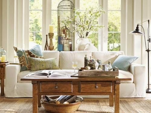 pottery barn living room design ideas blue sofa decorating styling bay window sills shine your light designs