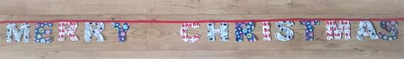 Merry Christmas Banner / Garland Individually Hand Made in 100% Cotton #61