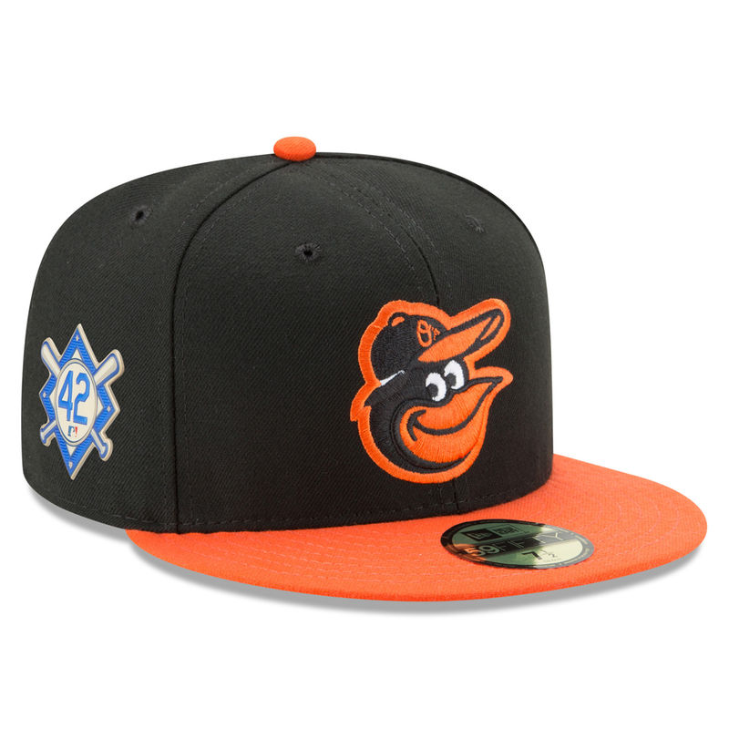online retailer 62916 7d092 Baltimore Orioles New Era 2018 Jackie Robinson Day Road 59FIFTY Fitted Hat  – Black Orange
