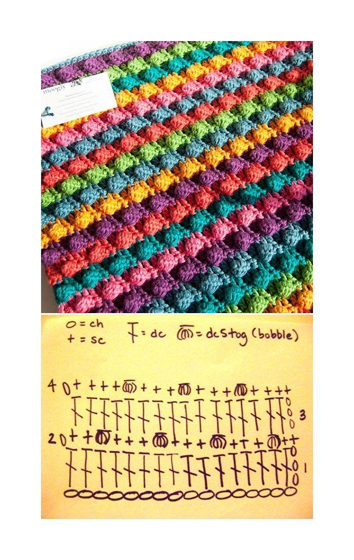 bobble stitch / Noppen häkeln | Noppen häkeln, Häkeln und Häkelmuster