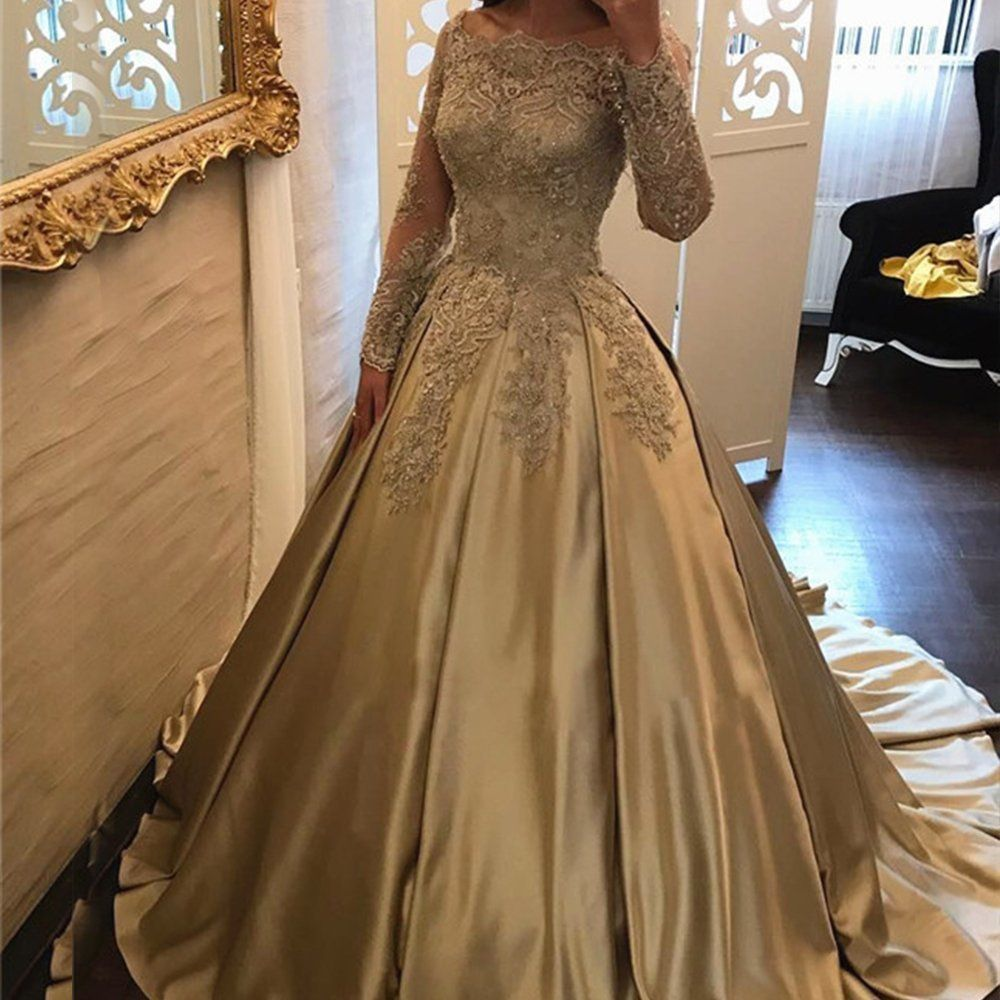 Angela off shoulder lace prom dresses tulle long puffy quinceanera