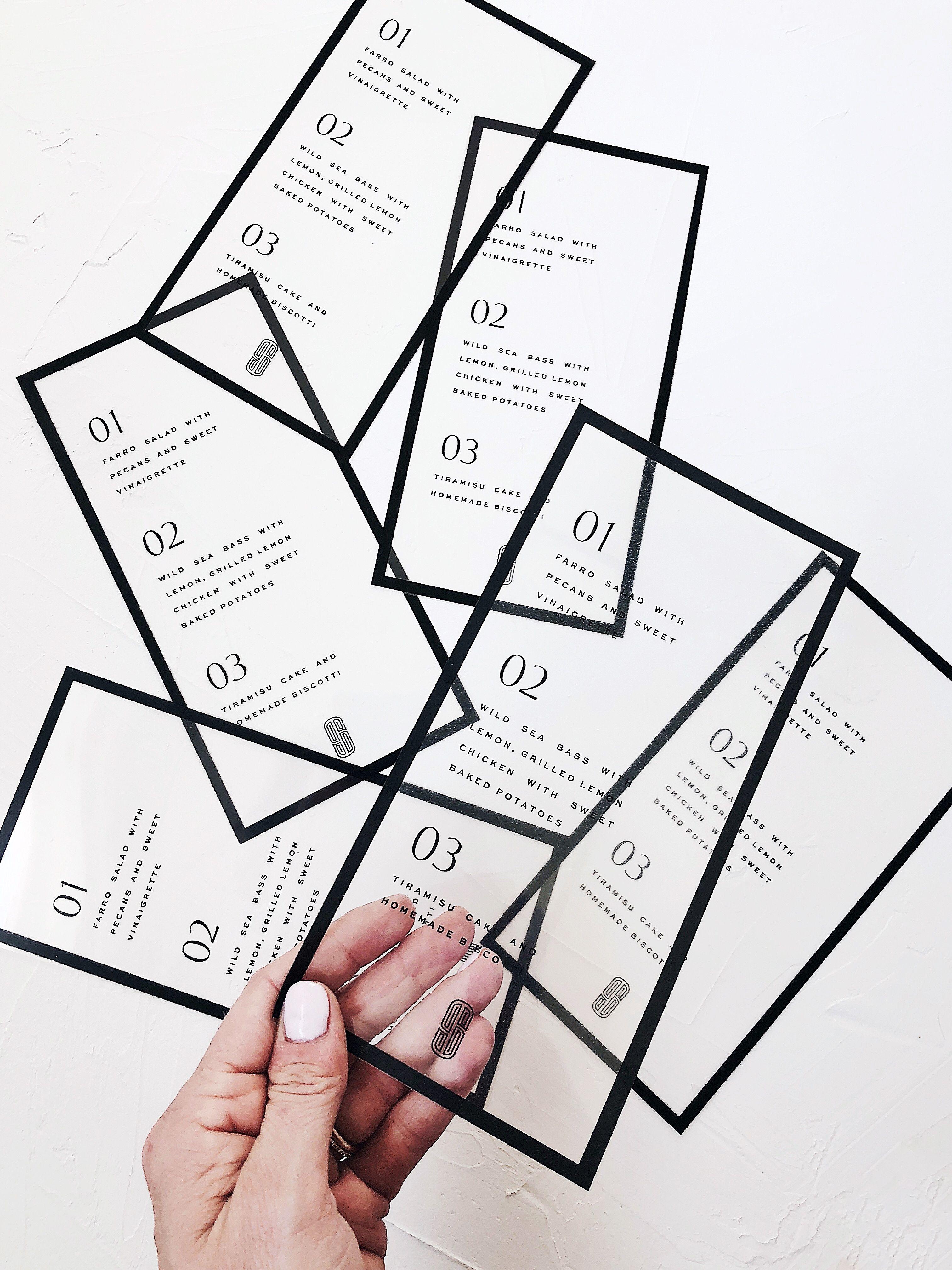 clear modern wedding menu design - black and white modern wedding