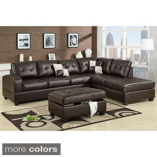 Leather Sectional Couches poundex berane reversible all around bonded leather sectional