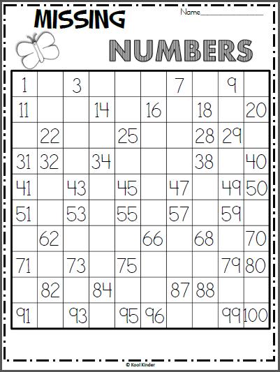 Free Spring 100s Chart Missing Numbers Worksheet | begin of ...