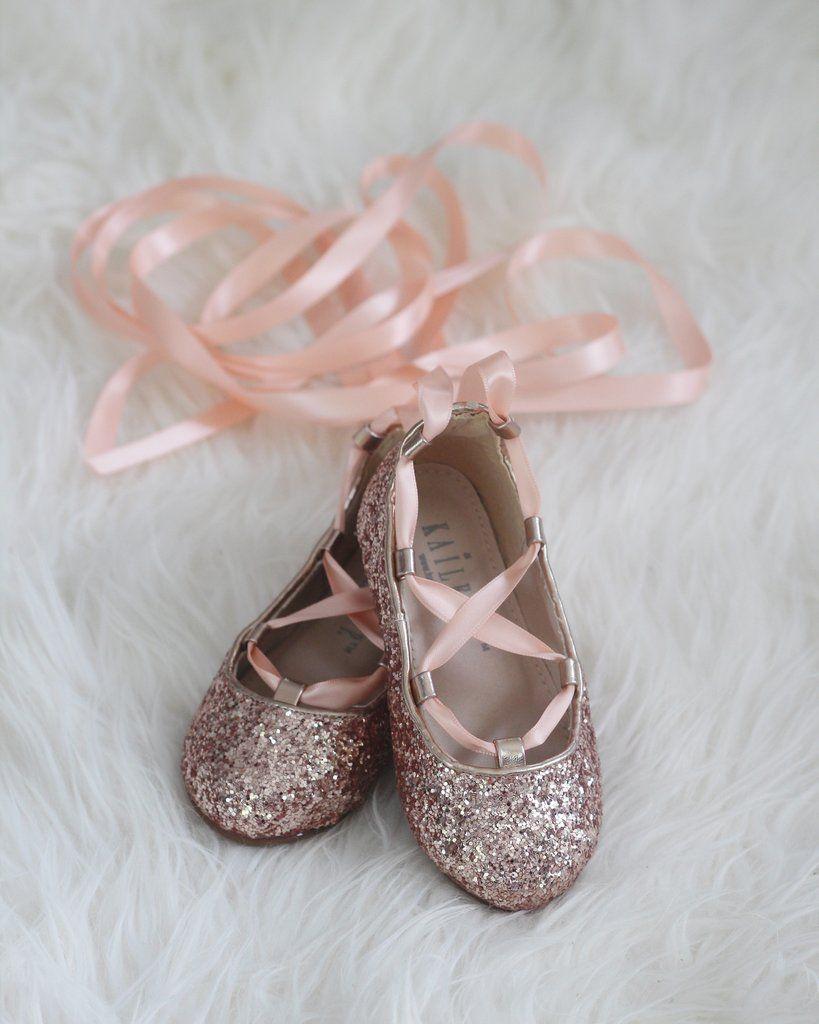 ROSE GOLD ROCK GLITTER ballerina flats