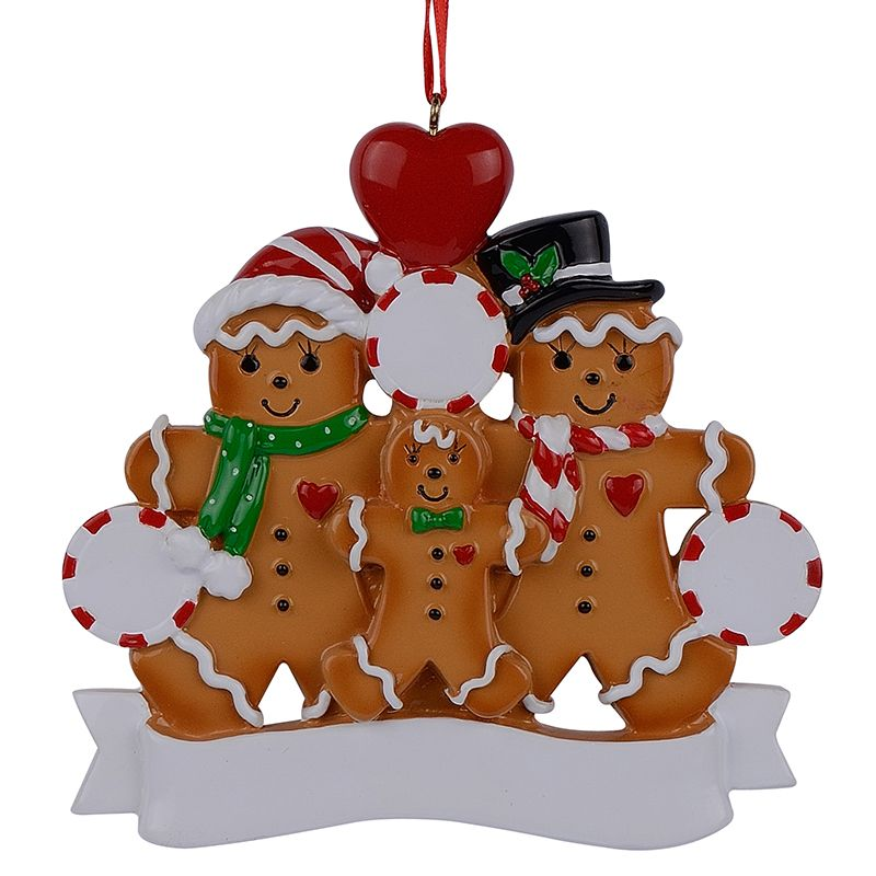 Wholesale Resin Gingerbread Family Of 3 Christmas Ornaments With Red - wholesale christmas decor