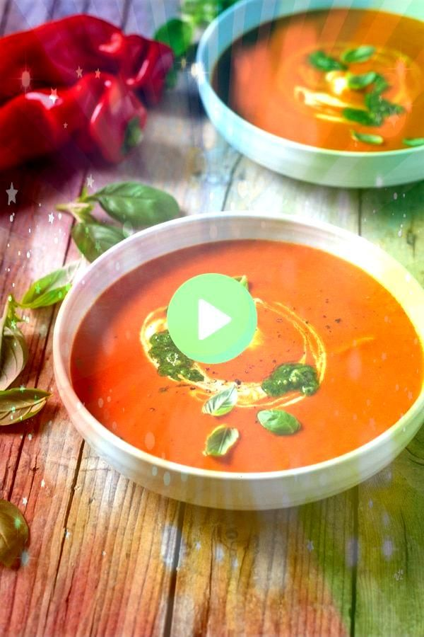 Red Pepper Soup A delicious thick and creamy soup made with roasted red peppers  sun dried tomatoes and topped with a pesto and creme fraiche swirl A cozy and comforting...