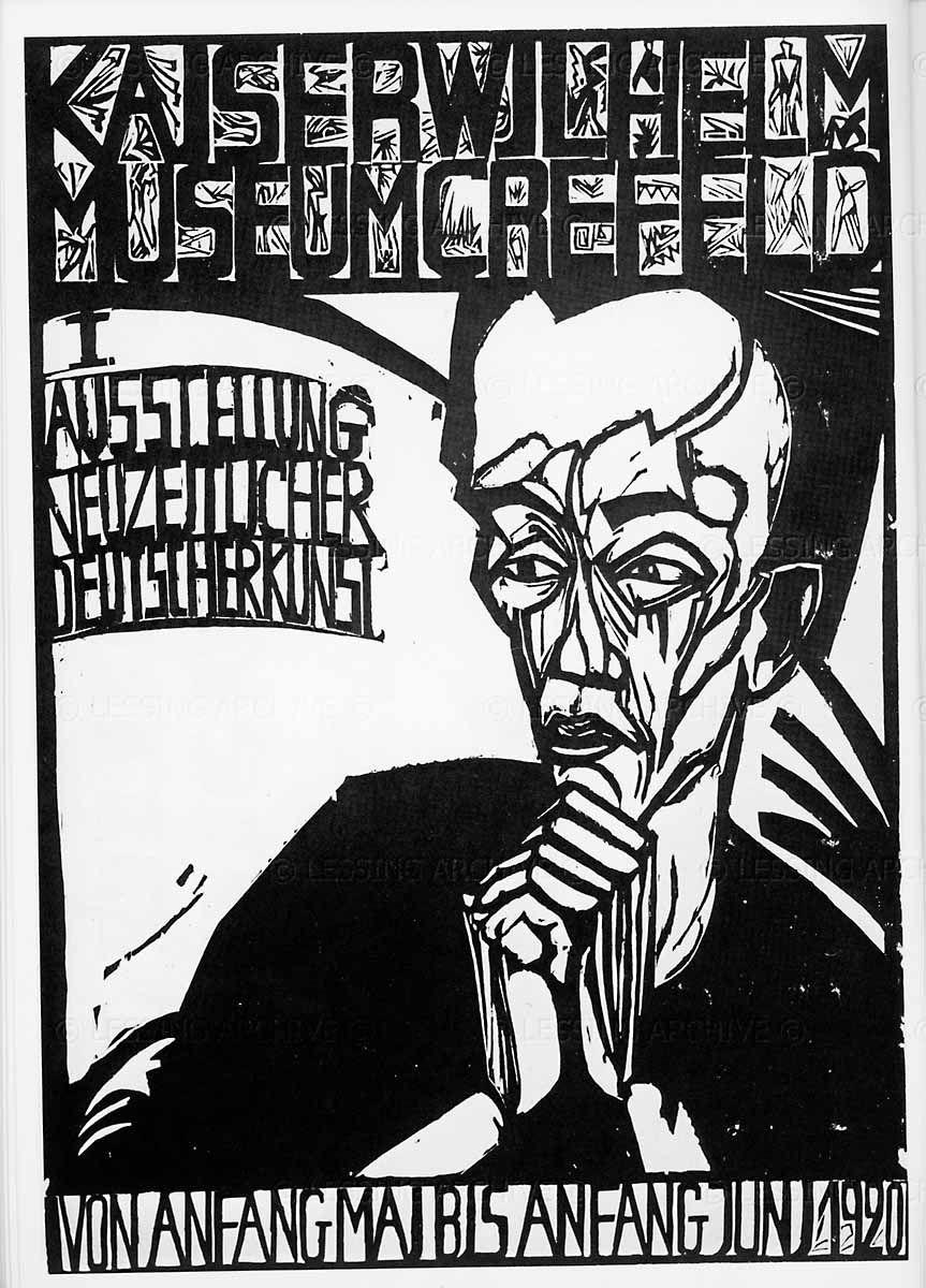 Erich Heckel:Kaiser-Wilhelm-Museum, Krefeld (1920) Germany. Woodcut, 63.5…