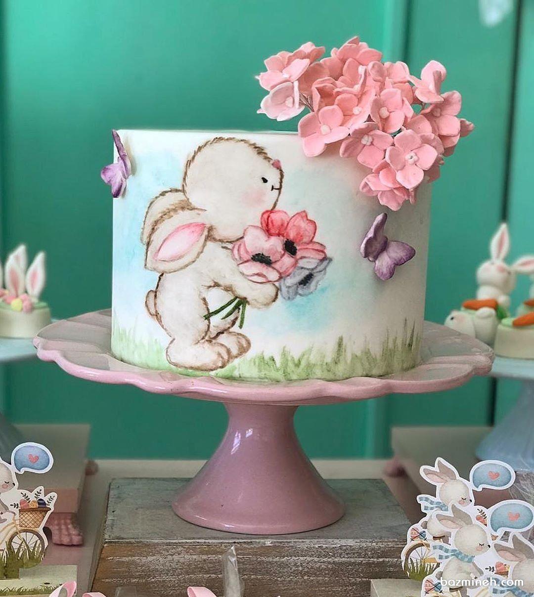 مینی کیک رمانتیک جشن تولد دخترونه با تم خرگوش (With images