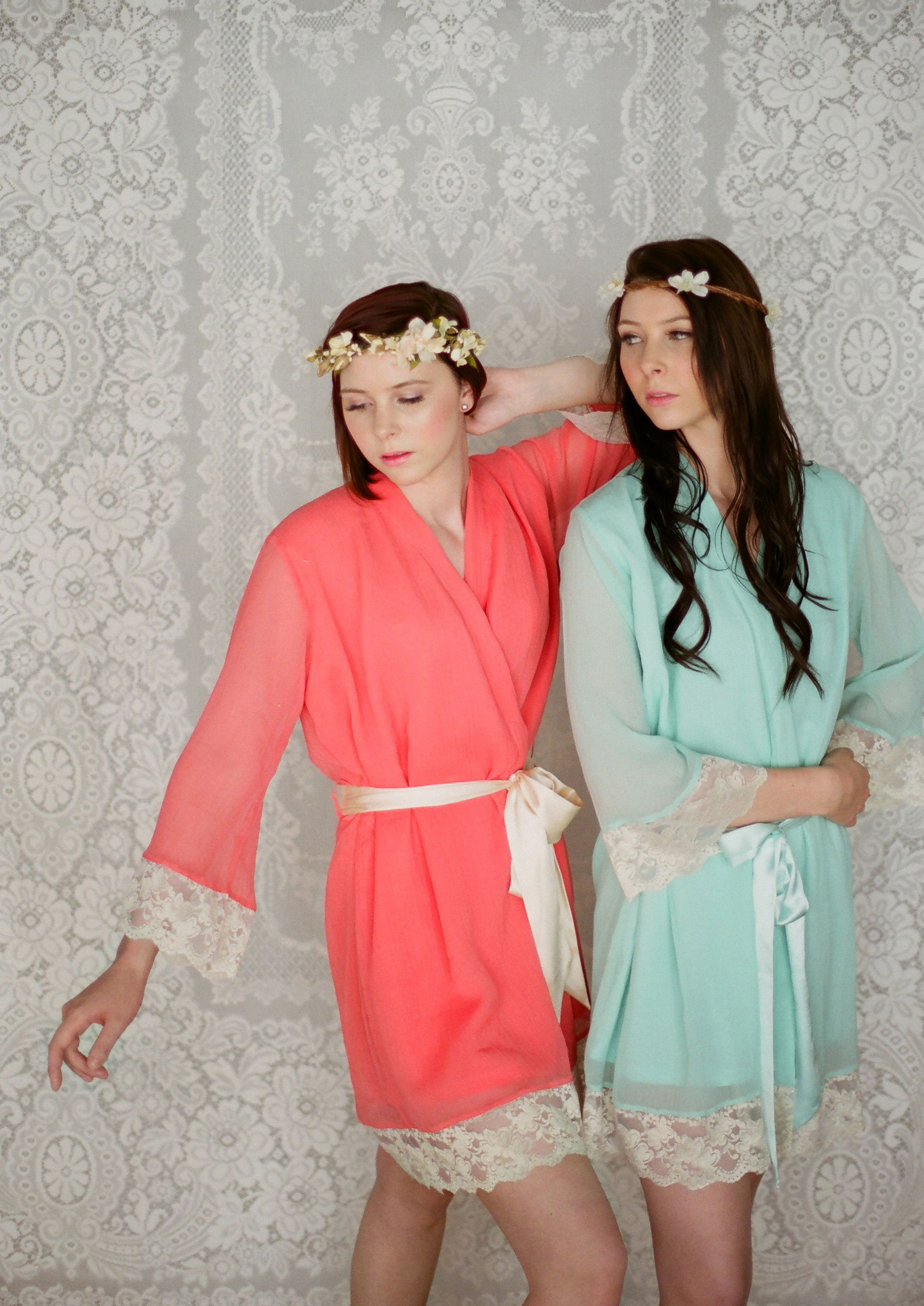 Custom lace trimmed chiffon robes in a knee by Singing Slowly. Bridal lace  robes in pastels and bright chiffons. d0f8e2258