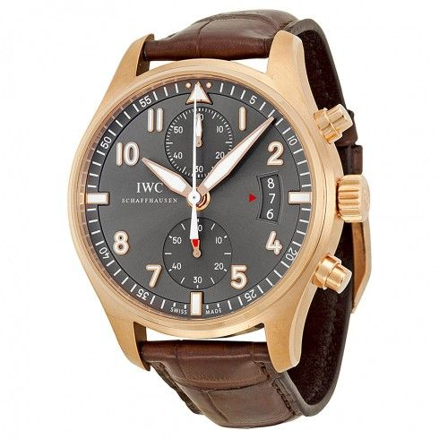 IWC Pilot Spitfire Grey Dial 18kt Rose Gold Brown Leather Men's Watch IW387803