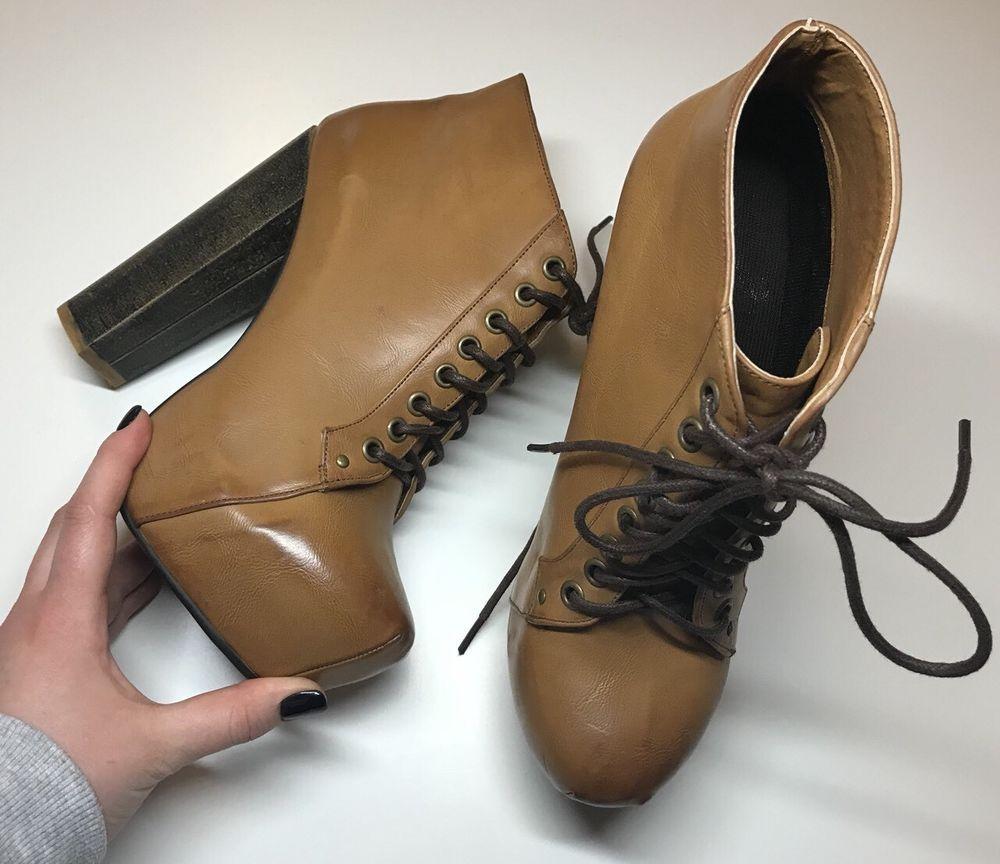 e1a049086af5 Bebo Brown Tan Patent Extreme Block Heel Platform Ankle Boots Size UK 6
