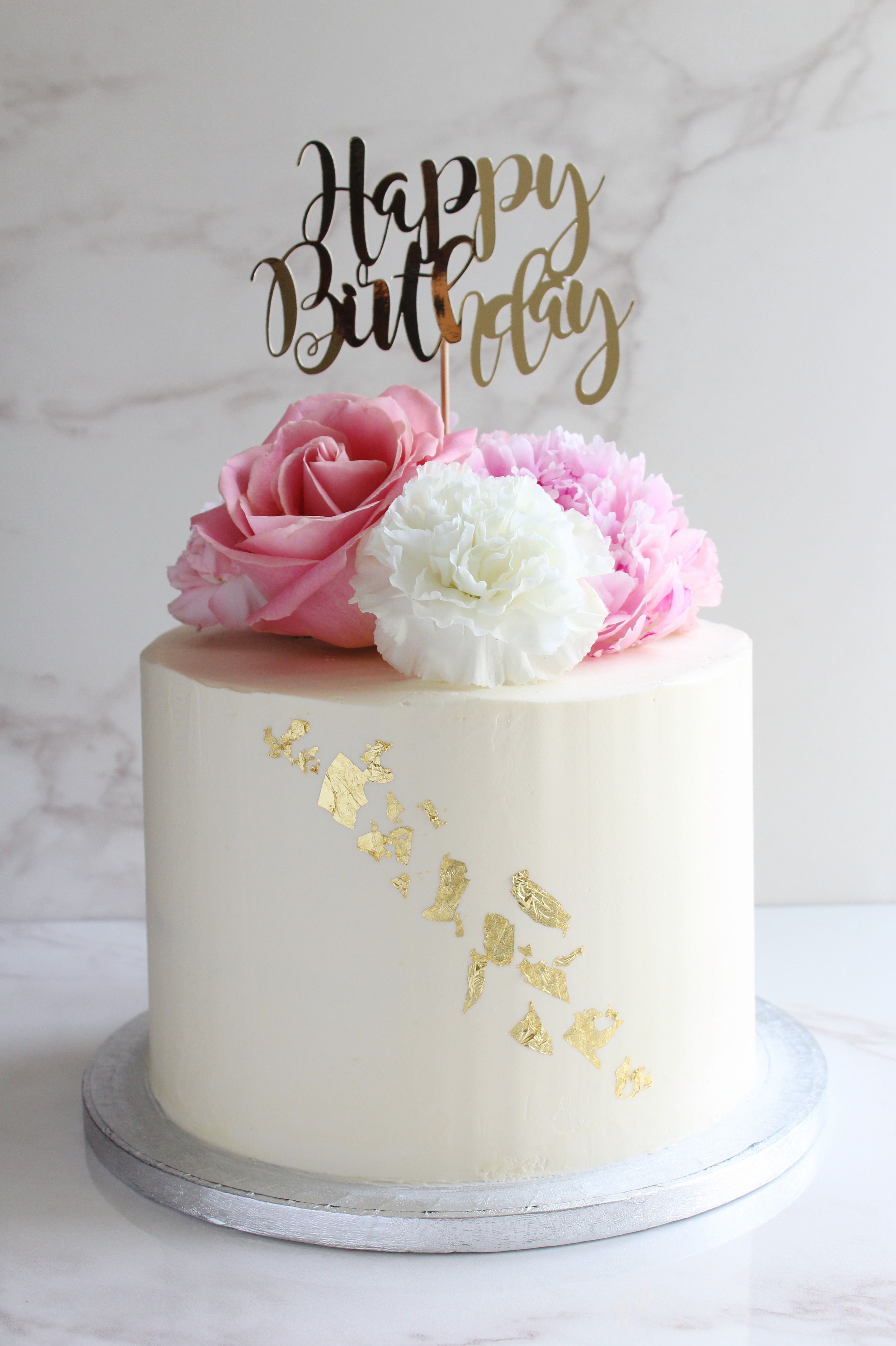 Astounding Lemon And Elderflower Cake With Fresh Flowers And Gold Leaf With Funny Birthday Cards Online Alyptdamsfinfo