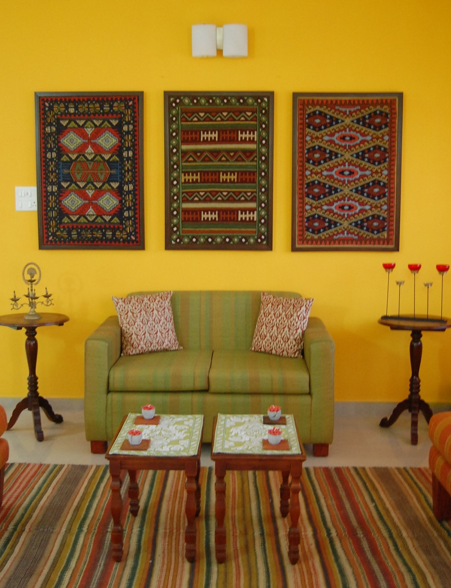 framed kilim artwork on mustard yellow wall #indianhomedecor | Home ...