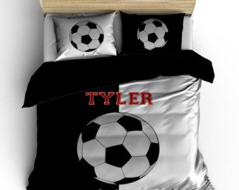 Custom Soccer Bedding, It's Black and White, Personalized with your Name -Toddler, Twin, F-Queen or King Size - Ball colors can be changed