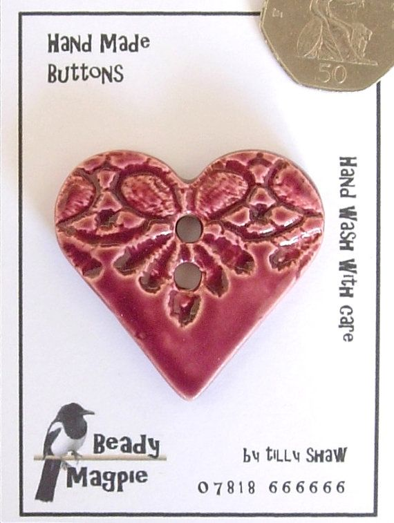 Ceramic Heart Button 4cmX4cm Cherry Red handmade by BeadyMagpie, £6.99 clay pottery buttons lace heart
