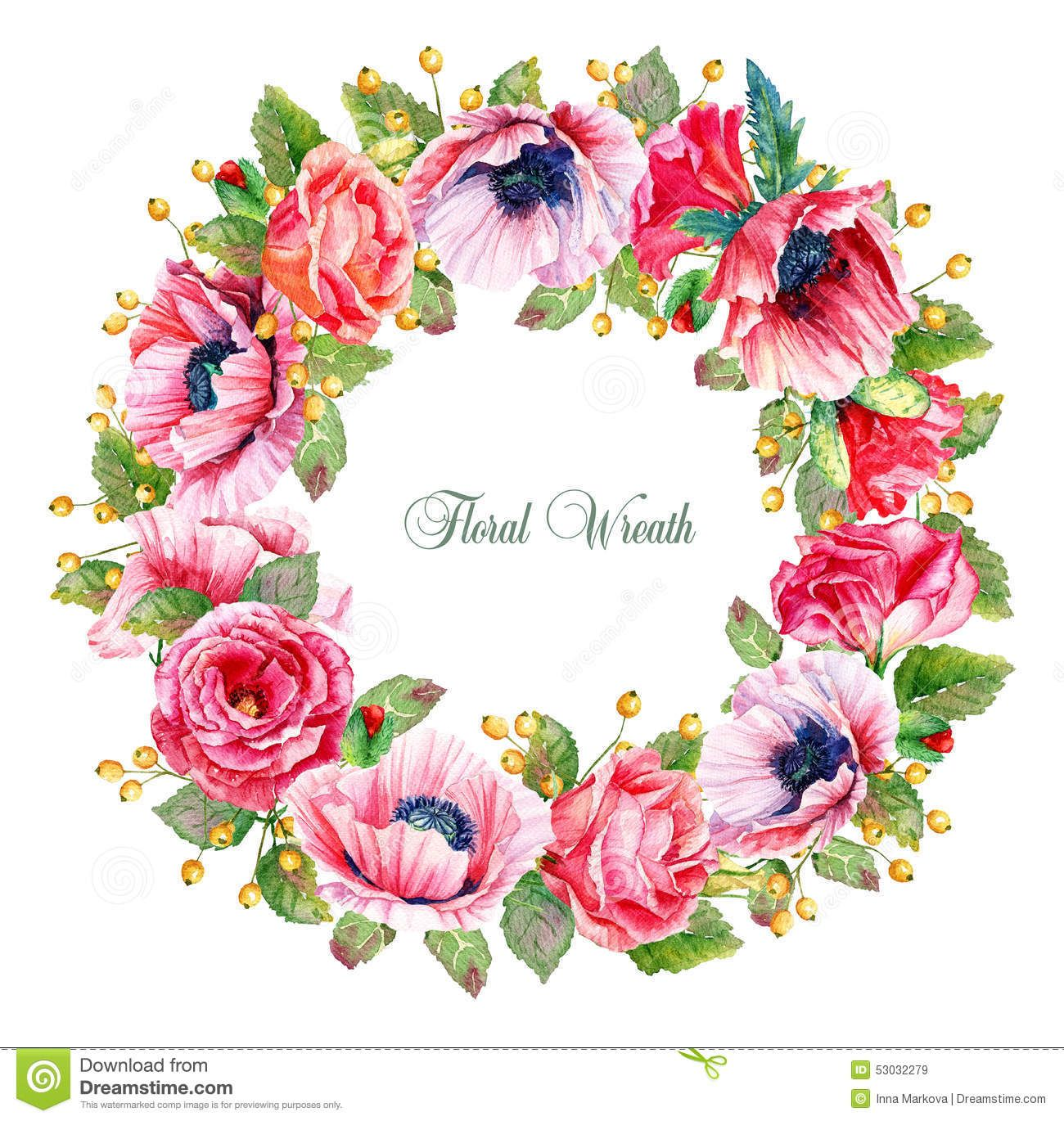 Round Frame Watercolor Roses Poppies Berries Illustration Wreath Flowers Can Be Used As Greeting Card 53032279 Watercolor Flower Wreath Flower Frame Flower Art