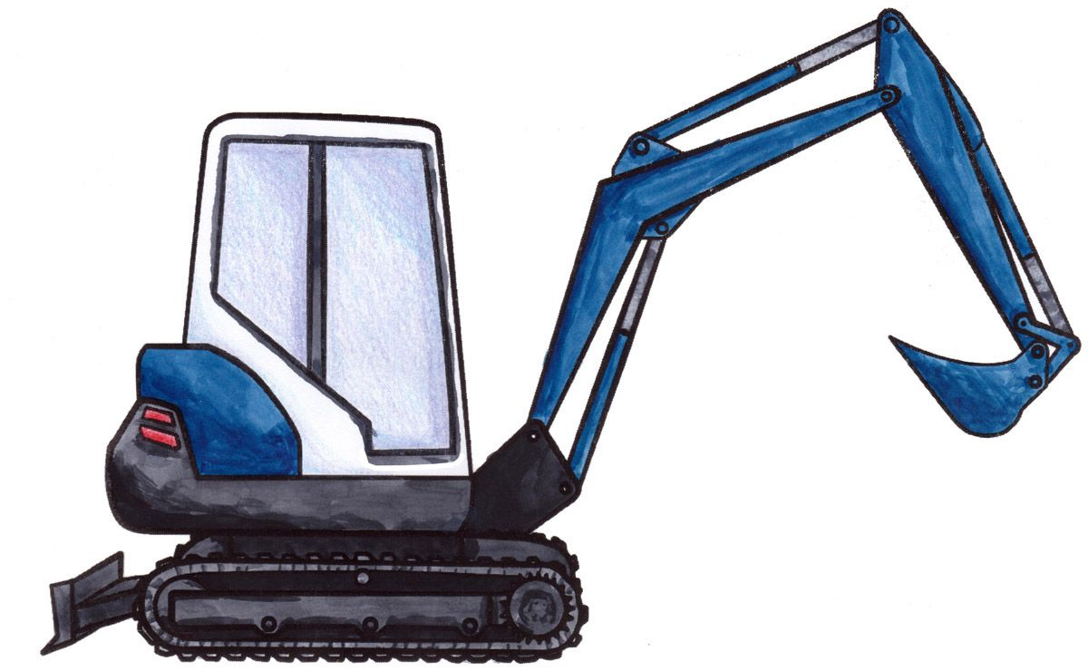 How to draw a MINI-excavator! | Tractor
