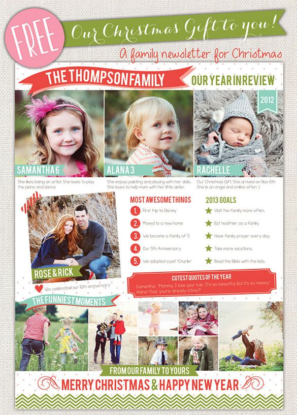 17+ Christmas Newsletter Templates u2013 Free PSD, EPS, Ai, Word - free word christmas templates