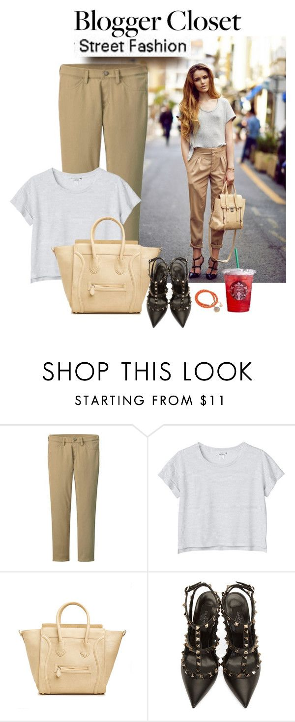 """""""Blogger closet: Khakis"""" by priscilla12 ❤ liked on Polyvore featuring Uniqlo, Monki, DailyLook, Valentino, Vera Bradley, women's clothing, women, female, woman and misses"""
