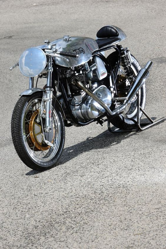 The immaculate lines of the classic English Triton motorcycle ...