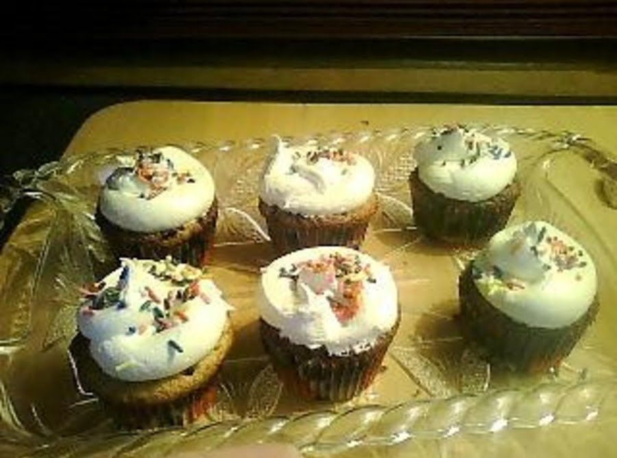 Yellow Cake and Brownie Topped Cupcakes