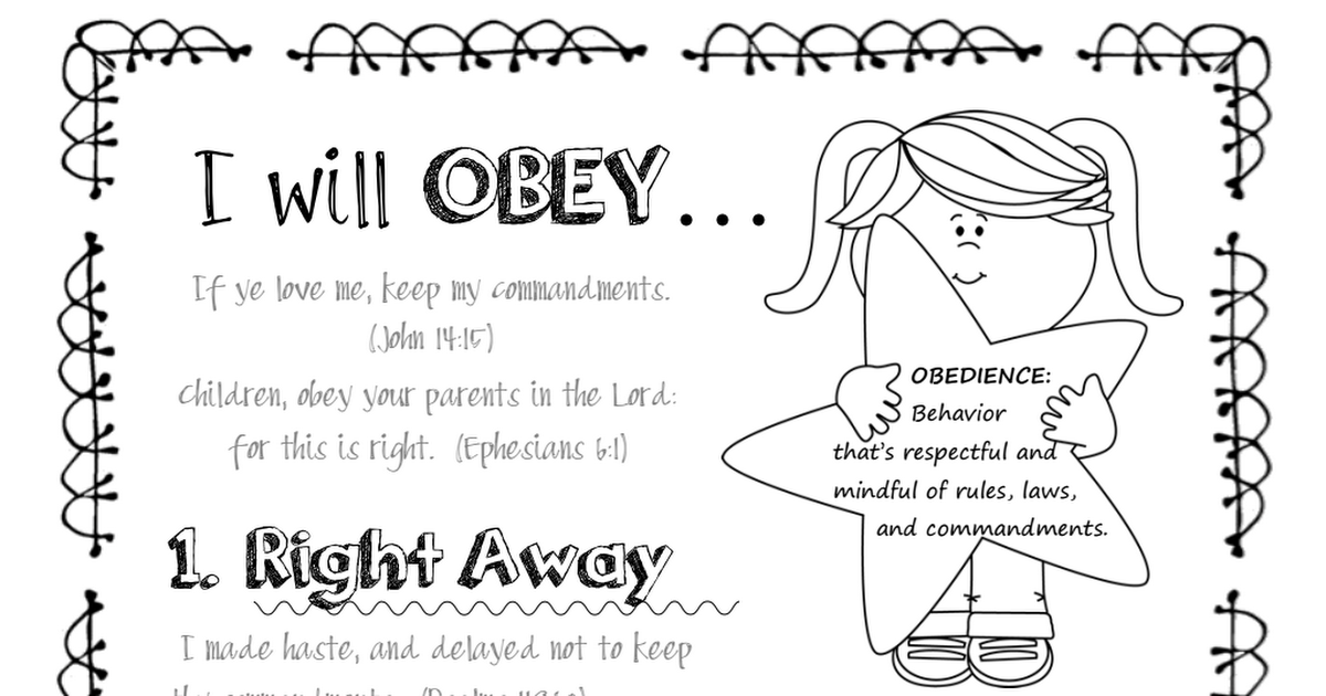 I Can Be Obedient color page.pdf | Preschool bible lessons ...