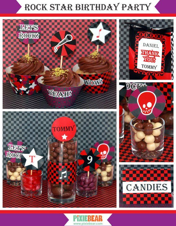Rock Star Birthday - Rockstar Party - Rockstar Birthday Decorations - Rock Star Party Printables - Rock Party Decorations (Instant Download) #rockstarparty