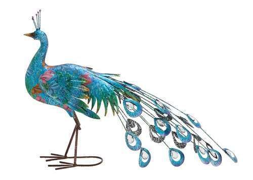 """20"""" Metal Crafted Vibrant Color Peacock Statue Blue Pink and Green Shades"""
