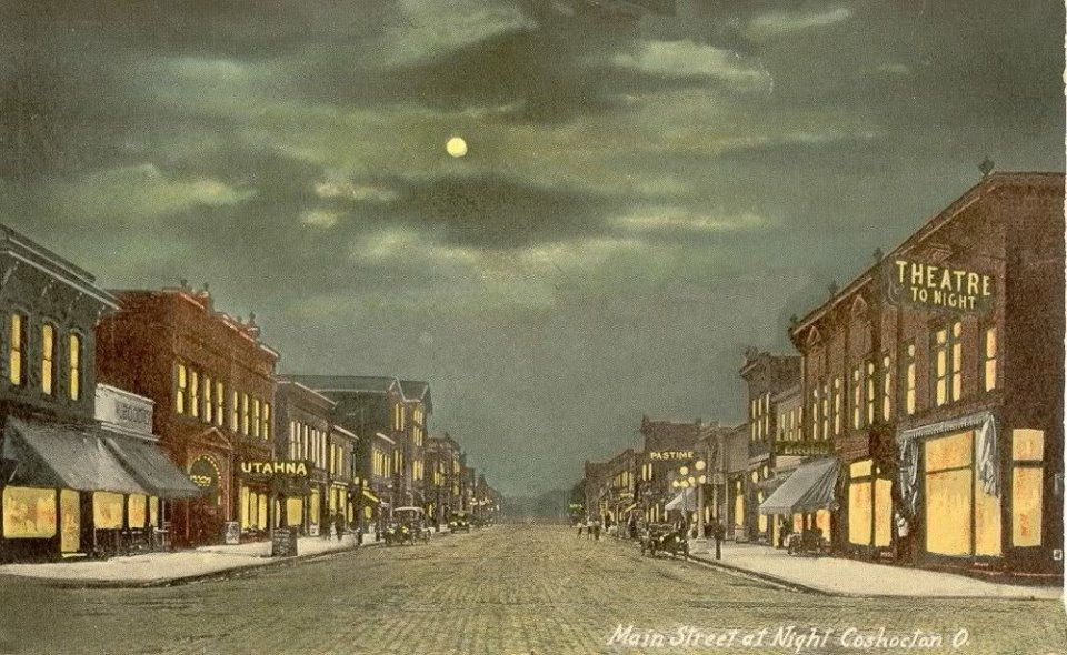 Old Post Card Scene Main Street At Night Coshocton Ohio